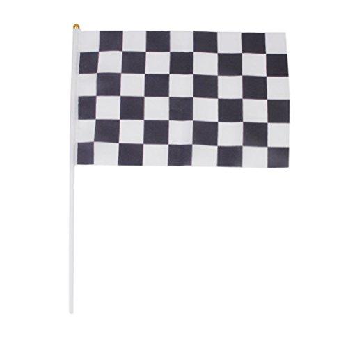WINOMO 12 Stück Black White Racing Flag 11.8 * 7.9 Banner mit 15.7 Kunststoff Pole für F1 Formel 1 Racing