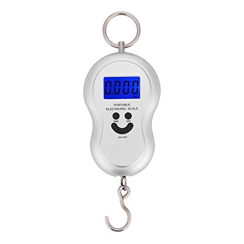 Electric Digital Hanging Scale Portable Digital Luggage Scale Hanging Suitcase Scale with Hook Tool Fishing Luggage for Outdoor Use(Silver)
