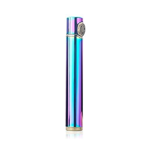 【WDMART】 ガスライター メタルライター 葉巻ライター 充填式ライター 注入式ライター 軽量 携帯便利 無料贈呈着火石6粒 タバコケースに入れることができます (ガスを含んでいません) (華麗カラー)
