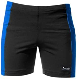 Aeroskin Polypropylene Swim Shorts with Color Side Stripes and Side Pocket (Black/Blue Kids-1) [並行輸入品]
