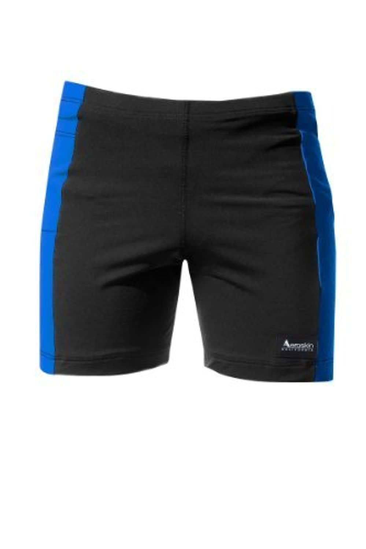 Aeroskin Polypropylene Swim Shorts with Color Side Stripes and Side Pocket (Black/Blue Kids-1) [並行輸入品]