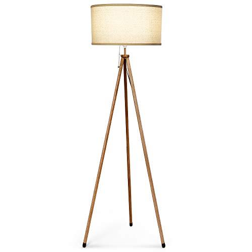 Albrillo Klassik Stehleuchte - Moderne Stativ Stehlampe mit Holzmaserung und Sackleinen Lampenschirm, 156 cm Höhe E27 Standleuchte, Perfekt dekorative Lampe für Wohnzimmer, Schlafzimmer, Büro, Beige