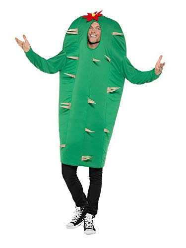 Karnevalsbud - Herren Männer Wüsten Kaktus Kostüm MKT Einteiler Overall, perfekt für Karneval, Fasching und Fastnacht, One Size, Grün