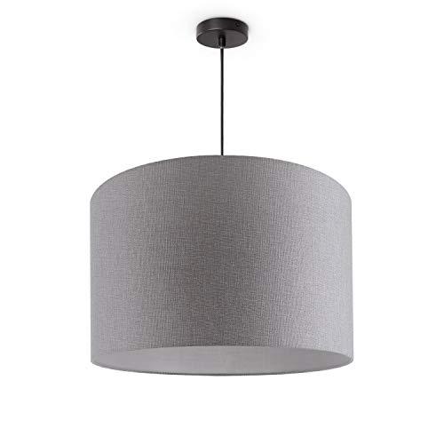 Luminaria De Techo LED De Suspensión Salón Dormitorio Colores Uni Deko E27, Pantalla de lámpara:Gris (Ø45.5 cm), Tipo de lámpara:Lámpara Colgante Negro + Bombilla