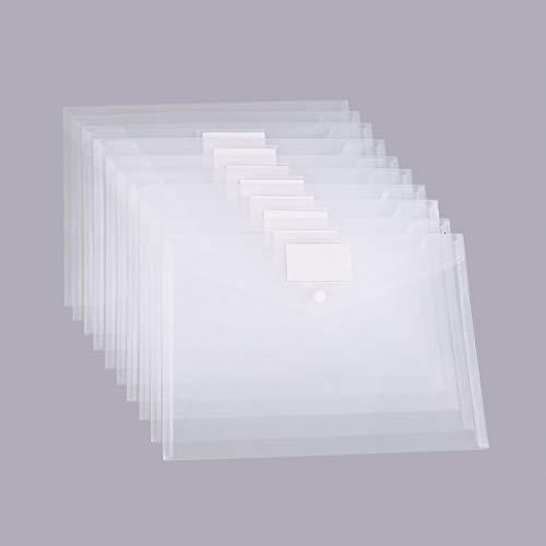 MILOLO Plastic Envelopes Document Folders, 10 Pack US Letter A4 Size Transparent File Envelopes with Label Pocket, Snap Closure, Clear Filing Envelopes for School/Home/Work/Office