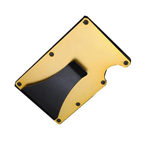 Titular de la Tarjeta de crédito de Fibra de Carbono RFID Cartera de Metal sin escanear Monedero Titular de la Tarjeta de Visita Masculina Carteira Masculina Billetera-Yellow