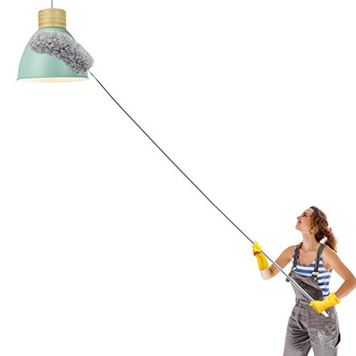 Abealv Telescoping Microfiber Duster with Extendable Stainless Steel 100 inches Pole, Washable Bendable Head and Scratch-Resistant Cap Duster for House Cleaning, Ceiling Fan, Blinds, Cars (Gray)