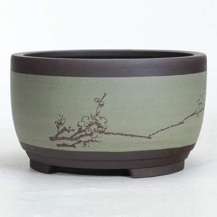 SANHOC a Forma di Tamburo Bonsai Vaso di Fiori in Ceramica Rotonda Grande Media e Piccoli Bonsai pentola Verde Vaso di Stile Cinese Ventilazione Bacino: 03 Stile, Media