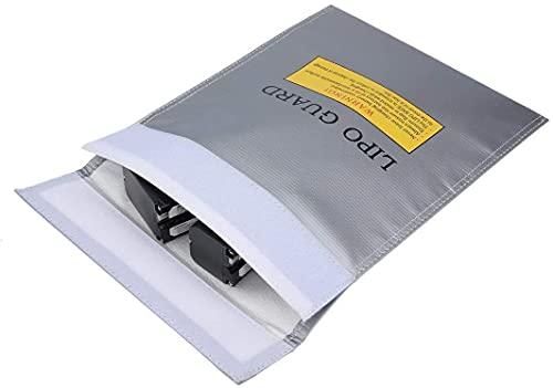 Borsa per Documenti Ignifuga,Borsa per Batteria RC Borsa di Sicurezza Li-Po in Fibra RC LiPo Guard Borse per Protezione di Documenti Valore Deposito di Carica Gioielli Denaro 7*9 Pollici Gris