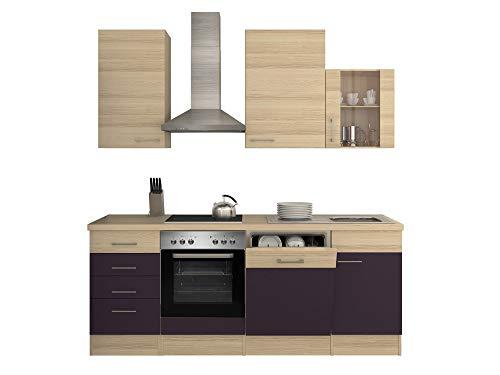Smart Möbel Küchenzeile 220 cm Aubergine/Akazie mit Herd, Geschirrspüler & Spüle - Otto