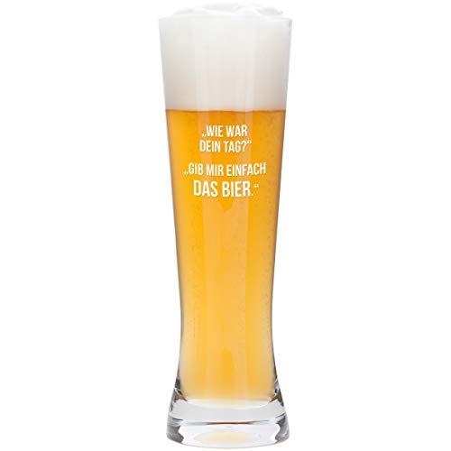 Geschenke 24 Bierglas – Dein Tag (ohne Wunschname): lustiges Leonardo Weizenglas mit Gravur - ausgefallener Spruch für Biertrinker – optional personalisiert mit Deinem Wunschnamen