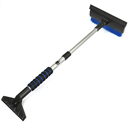 Car Snow Brush with Squeegee, Extendable Auto Snow Removal Broom with Ice Scraper, Foam Grip, Pivoting Head, for Cars Trucks SUVs, Blue