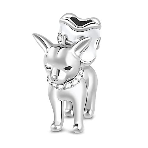 Gnoce'Mi Perrito' Abalorios para Mujer Charms Plata de Ley 925 Animal Charm Colgante para Collares y Pulseras