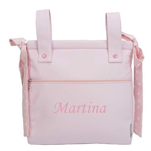 Bolso panera o talega para carrito de bebé personalizado con el nombre bordado. Modelo Harper (Rosa)