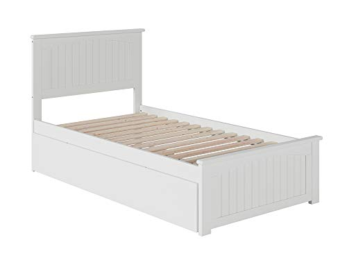 Atlantic Furniture Nantucket Platform Bed with Matching Foot Board and Twin Size Urban Trundle, Twin, White