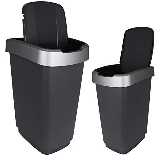 TW24 Abfalleimer 25L mit Farbwahl Mülleimer Kunststoff Abfallbehälter mit Deckel Müllsammler (Grau)