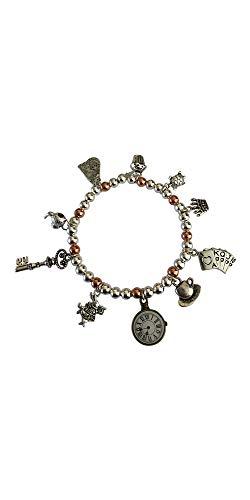 Braccialetto elasticizzato con perline in argento placcato e oro rosa per bambini Alice nel paese delle meraviglie dieci – Misura 13 cm Età 4 – 7 anni