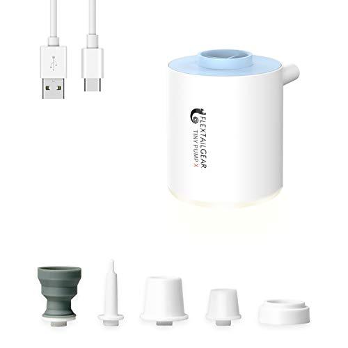 FLEXTAILGEAR Tiny Pump es una Bomba de Aire ultrapequeña portátil con una batería de Litio Recargable de 1300 ma USD, Que Puede inflar y bombear Aire para Piscinas, colchones de Aire, colchones Aire