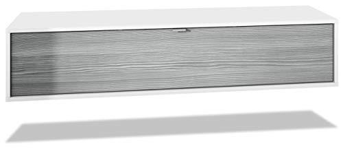 Mueble televisor Lana 140 Mueble de Pared para televisión 140 x 29 x 37 cm, Cuerpo en Blanco Mate, Frentes en Avola Antracita | Gran Variedad de Colores