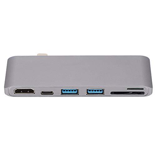 Concentrador USB C, Adaptador de concentrador Tipo C 6 en 1, Tipo C x 1, USB 3.0 x 2, SD x 1, Micro SD x 1, HDMI x 1, para Windows XP / 7/8/10, Mac OS 9 / X / 10, Android