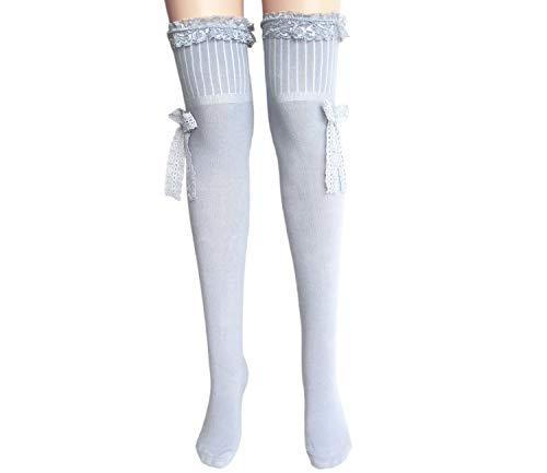 joy workshop Frauen Halterlose Baumwolle Strümpfe Damen über dem Knie Strümpfe_Grau mit Spitzenschleife