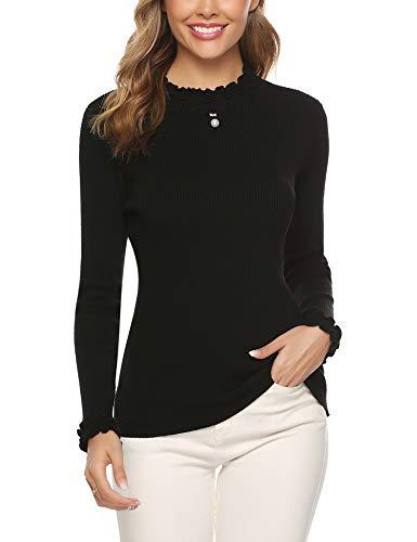 iClosam Camiseta Manga Larga Mujer Slim Fit Suelto Deportiva Casual Primavera Cuello Pullover Tops Elegantes Blusas Jersey Punto Suelto Top (Negro, XXL)