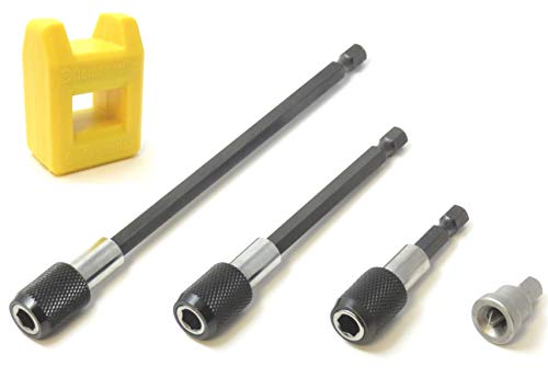 FregocS 石膏ボード 木製ボード用 ビット アクセサリー 5点セット (六角軸 ビット ドリル刃 延長ソケット 3本 / 位置決めビット / 着磁器) BITE3MAPO5