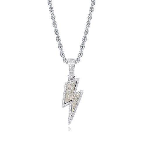 VBNMG Bliksem-halsketting, bliksem, volle diamanten, zirkonia, persoonlijkheid, hip hop, mannen en vrouwen, halsketting, sieraad, goud, zilver, 60 cm