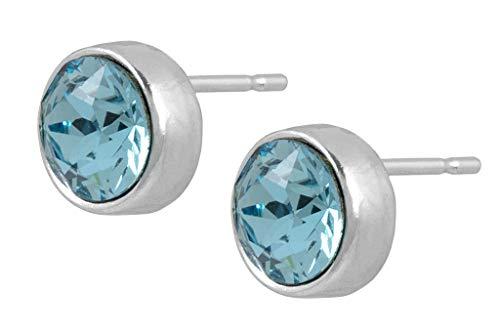 petra kupfer kleine Ohrstecker Damen Swarovski Kristall Rund - 6mm Glitzer Crystals from Swarovski® in hellblau aquamarine