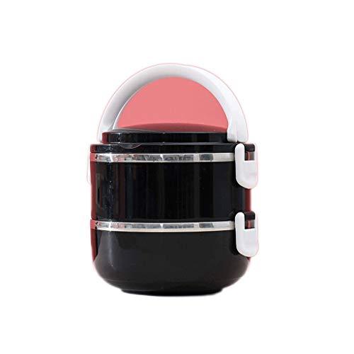 JJZXT Caja apilable Almuerzo Bento Box térmica de Acero Inoxidable Almuerzo térmica Caja a Prueba de Fugas for Alimentos Contenedores for Almuerzo con Aislamiento (Color : Black)