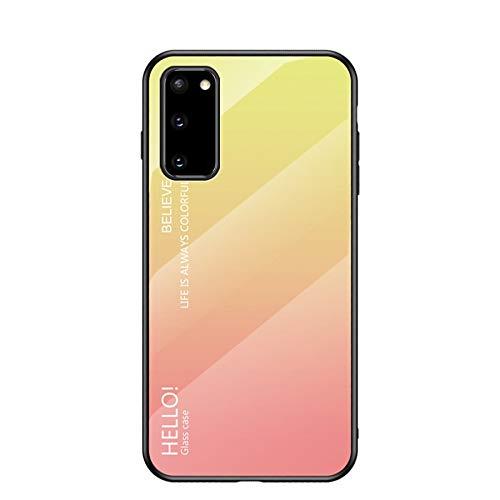 Happy-L Funda para Samsung Galaxy S20, 9H de vidrio templado, cubierta de teléfono inteligente de color degradado, resistente a los arañazos, carcasa de silicona suave (color: amarillo degradado)