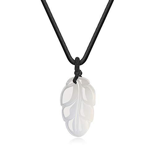 coai Unisex Geschenkideen Gebetskette Edelsteinkette Laub Blatt Anhänger Halskette aus Achat Weiß