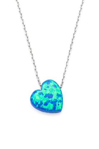 Remi Bijou 925 Sterling Silber Halskette Kette + Anhänger - Opal Herz Blau türkis - Zirkonia Strass - romantisch Liebe Geschenk