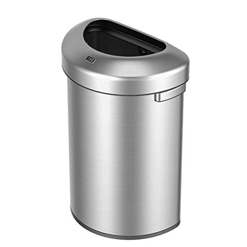 EKO Urban Commercial II 60 Liter / 15.8 Gallon Open Top Trash Can, Brushed Stainless Steel Finish