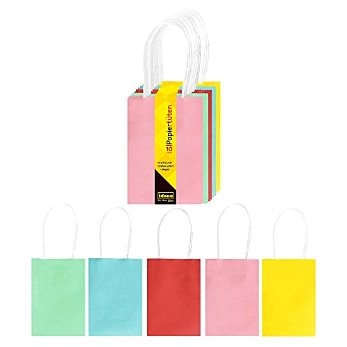Idena 30235 - Papiertüten, 10 Stück, 5 Farben sortiert, Basteltüten, zum Verzieren und Verschenken, Geschenktaschen