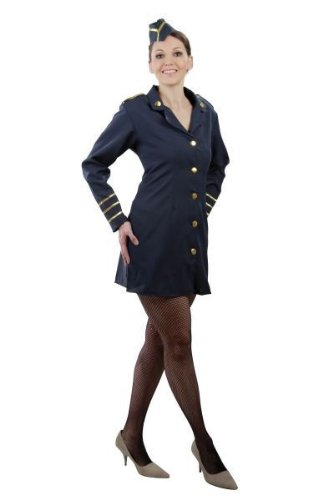 Foxxeo Stewardess Kostüm für Damen Flugbegleiterin Fasching Karneval Motto Party Größe 42-44