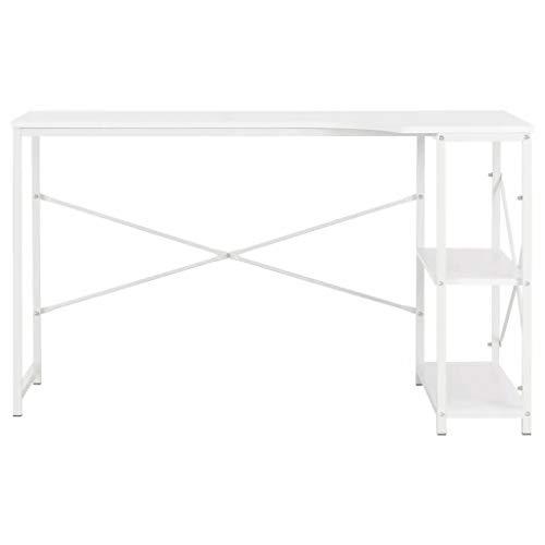Mesa de ordenador con 2 estantes, mesa de oficina en casa, estilo industrial, oficina, oficina, estación de trabajo, PC de madera y metal estable, blanco, 120 x 72 x 70 cm