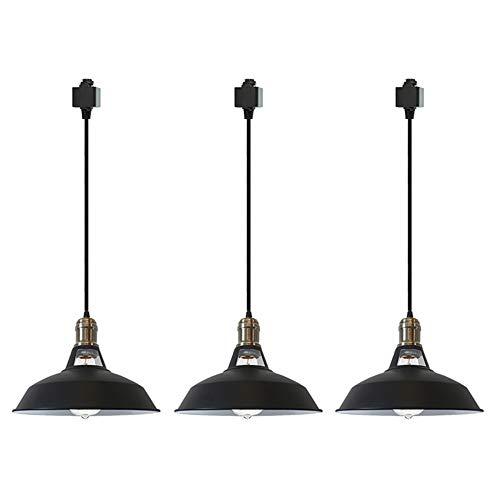 STGLIGHTING Iron H-Type Track Pendant Lighting 23.6in Black Cord Customizable Black Lampshade Dimmable Track Mount Pendant Lights for Restaurant Chandelier Decorative Pendant Light