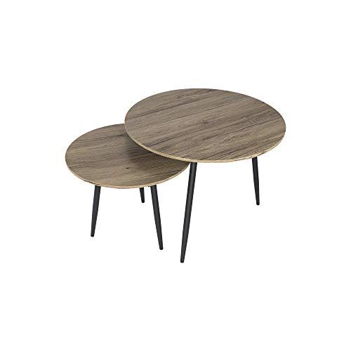 MOG CASA - Juego de 2 mesas Tristan mesas Redondas de Centro/café (65cm/50cm)