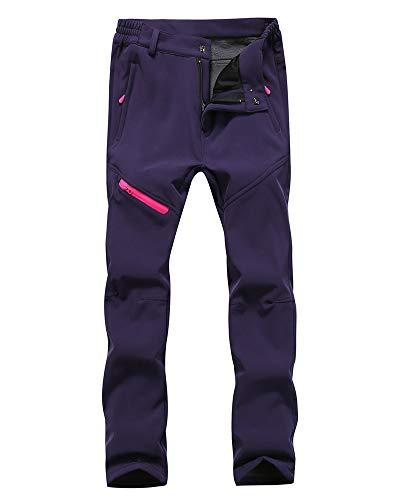 Hombre/Mujer Impermeable Pantalones Softshell Forro Polar cálido Pantalones de Invierno Pantalones de Escalada Deportes Calentar Grueso Táctico Pantalones Mujeres Púrpura M