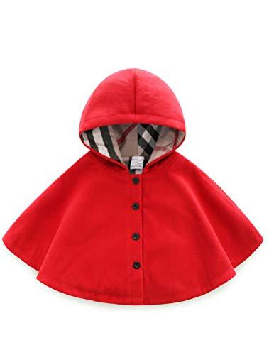 Odziezet Giacca del Mantella Cappotti Invernali da Neonata Vestiti Caldi Pesanti Bimba Rosso 2-3 Anni