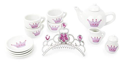 Small Foot 11273 Porzellan-Teeservice Krone im Prinzessin-Design, 14-TLG. Set mit Glitzerkrone, Rollenspielzeug Spielzeug, Mehrfarbig