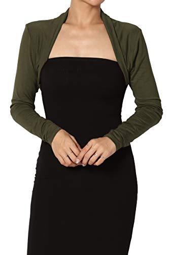 TheMogan Junior's Luxe Jersey Shirring Long Sleeve Bolero Crop Cardigan Olive XL