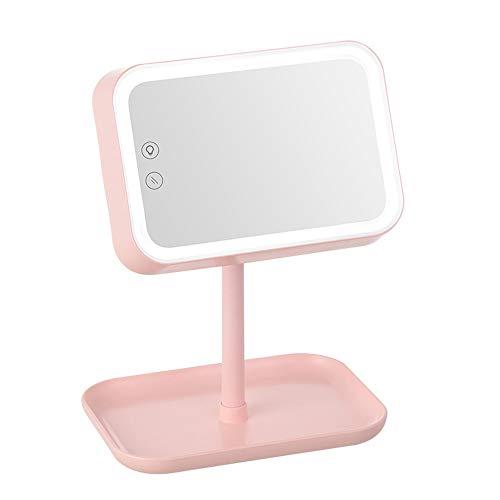 LED Miroir de Maquillage de Bureau Multifonctionnel Miroir Pliant Base de commutateur Tactile Peut être stocké avec Le Mode lumière de Nuit, Peut être tourné