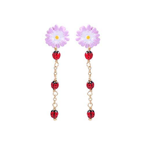New Simple Enamel Small Daisy Earrings Ladybug Necklace Jewelry For Women Choker Bracelet Set