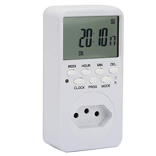 Weikeya Dispositivo de Cuenta Regresiva automática, relé TUV R/C + -1S / DÍA 0 ~ + 55 ℃ Enchufe Inteligente Funciona con plástico (Blanco)