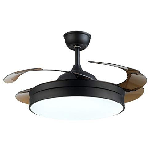 Ventilador de Techo con Luz Ventilador de techo moderna silencioso de la hoja de acrílico invisible de la lámpara de iluminación alejado del restaurante de control de regulación lámparas decorativas 4