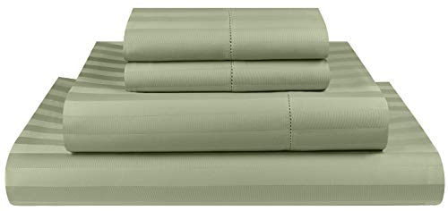 Threadmill Home Linen 500 Thread Count Damask Stripe Cotton Sheets 100% ELS Cotton, Hem Stitch Luxury 3 Piece Bed Sheet Set, Fits Mattresses up to 18 inches deep, Smooth Sateen Weave, Twin, Sage