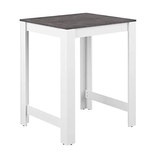 Marchio Amazon -AmazonBasics - Tavolo bar, 80 x 70 x 102 cm (L x P x A), colore bianco e pietra