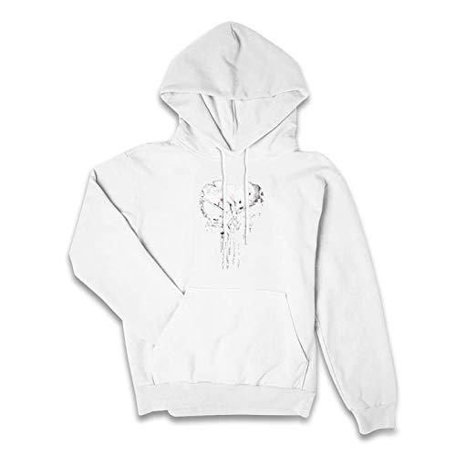 Suéter con capucha para mujer,Suéter con capucha de manga de las mujeres,Las Skullhoodies para las mujeres, blanco, L